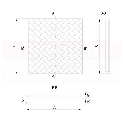 Capac de acces ACO Access Cover FI 2.0 Easy, dimensiune 1000 x 1000