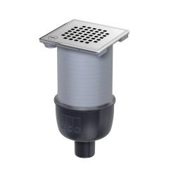 Gură de scurgere ACO EasyFlow, descărcare verticală DN50, grătar cu blocare Quadrato din inox, 140mm x 140mm