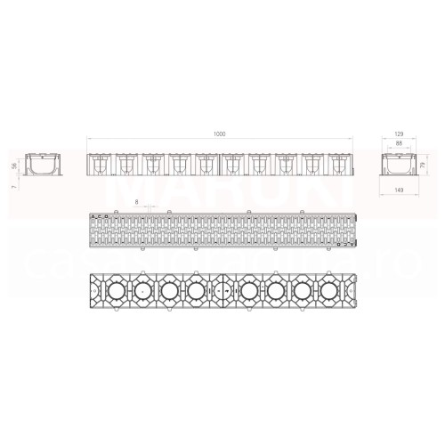 Set 12 rigole cu accesorii ACO Self Hexaline 2.0 din polipropilenă, cu grătar antiderapant din PP negru, lungime 100 cm
