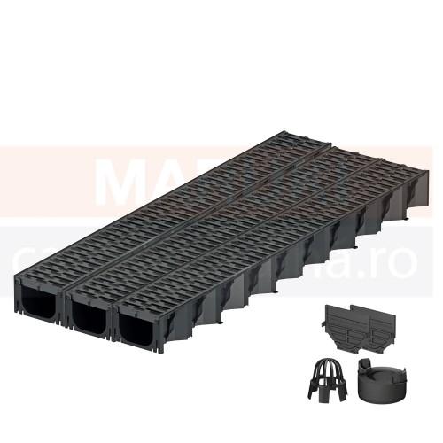 Set 3 rigole cu accesorii ACO Self Hexaline 2.0 din polipropilenă, cu grătar antiderapant din PP negru, lungime 100 cm