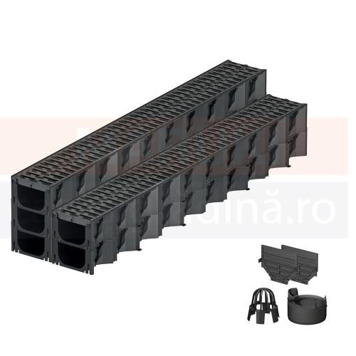 Set 5 rigole cu accesorii ACO Self Hexaline 2.0 din polipropilenă, cu grătar antiderapant din PP negru, lungime 100 cm