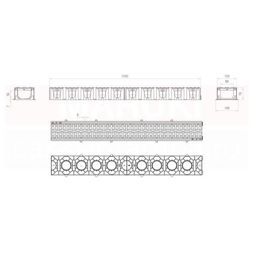 Set 11 rigole cu accesorii ACO Self Hexaline 2.0 din polipropilenă, cu grătar antiderapant din PP negru, lungime 100 cm