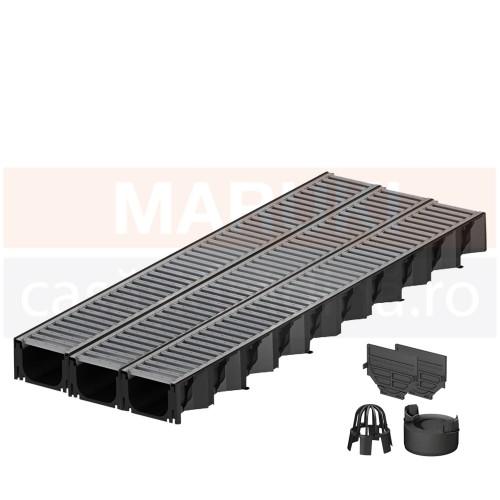 Set 3 rigole cu accesorii ACO Self Hexaline 2.0 din polipropilenă, cu grătar din oțel zincat, lungime 100 cm
