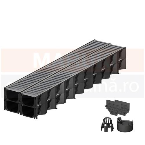 Set 4 rigole cu accesorii ACO Self Hexaline 2.0 din polipropilenă, cu grătar din oțel zincat, lungime 100 cm