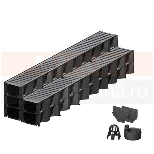 Set 5 rigole cu accesorii ACO Self Hexaline 2.0 din polipropilenă, cu grătar din oțel zincat, lungime 100 cm