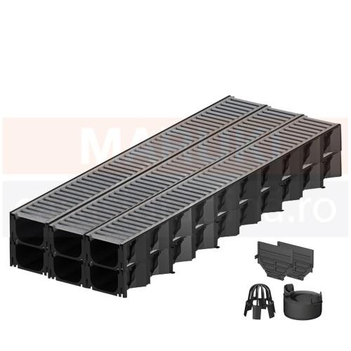 Set 6 rigole cu accesorii ACO Self Hexaline 2.0 din polipropilenă, cu grătar din oțel zincat, lungime 100 cm
