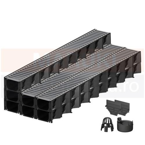 Set 7 rigole cu accesorii ACO Self Hexaline 2.0 din polipropilenă, cu grătar din oțel zincat, lungime 100 cm