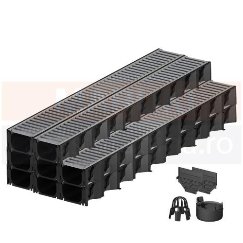 Set 8 rigole cu accesorii ACO Self Hexaline 2.0 din polipropilenă, cu grătar din oțel zincat, lungime 100 cm