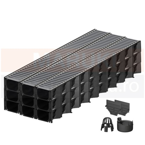 Set 9 rigole cu accesorii ACO Self Hexaline 2.0 din polipropilenă, cu grătar din oțel zincat, lungime 100 cm