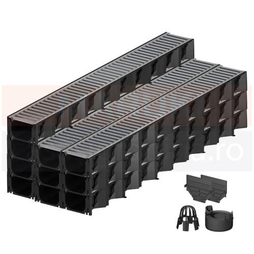 Set 10 rigole cu accesorii ACO Self Hexaline 2.0 din polipropilenă, cu grătar din oțel zincat, lungime 100 cm