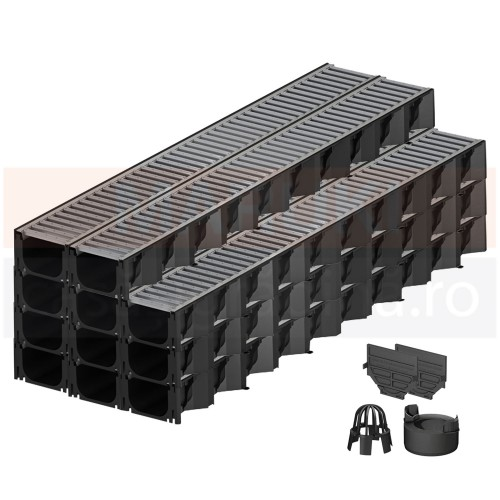 Set 11 rigole cu accesorii ACO Self Hexaline 2.0 din polipropilenă, cu grătar din oțel zincat, lungime 100 cm