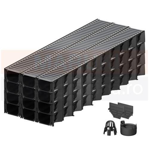 Set 12 rigole cu accesorii ACO Self Hexaline 2.0 din polipropilenă, cu grătar din oțel zincat, lungime 100 cm