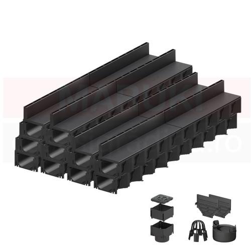 Set 10 rigole cu accesorii ACO Self Hexaline 2.0 din polipropilenă, cu grătar fantă PP negru, lungime 100 cm