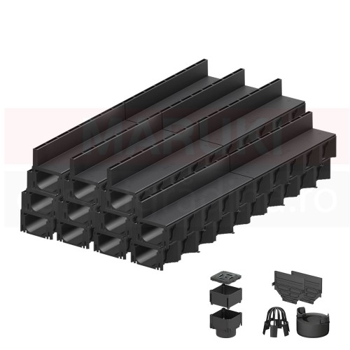 Set 11 rigole cu accesorii ACO Self Hexaline 2.0 din polipropilenă, cu grătar fantă PP negru, lungime 100 cm