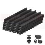 Set 12 rigole cu accesorii ACO Self Hexaline 2.0 din polipropilenă, cu grătar fantă PP negru, lungime 100 cm