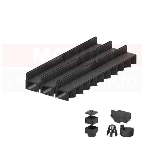 Set 3 rigole cu accesorii ACO Self Hexaline 2.0 din polipropilenă, cu grătar fantă PP negru, lungime 100 cm