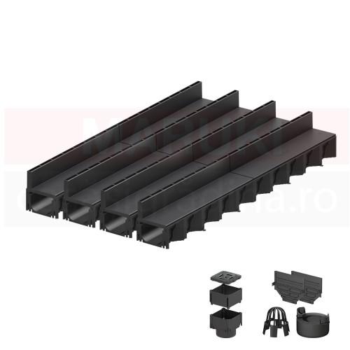 Set 4 rigole cu accesorii ACO Self Hexaline 2.0 din polipropilenă, cu grătar fantă PP negru, lungime 100 cm
