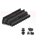 Set 5 rigole cu accesorii ACO Self Hexaline 2.0 din polipropilenă, cu grătar fantă PP negru, lungime 100 cm