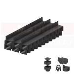 Set 6 rigole cu accesorii ACO Self Hexaline 2.0 din polipropilenă, cu grătar fantă PP negru, lungime 100 cm
