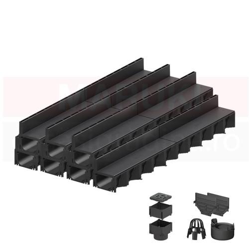 Set 7 rigole cu accesorii ACO Self Hexaline 2.0 din polipropilenă, cu grătar fantă PP negru, lungime 100 cm
