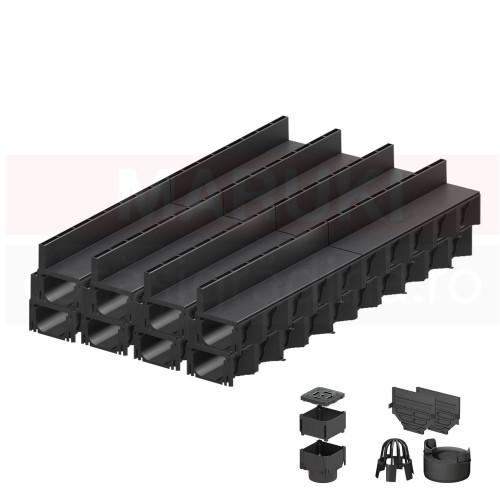 Set 8 rigole cu accesorii ACO Self Hexaline 2.0 din polipropilenă, cu grătar fantă PP negru, lungime 100 cm