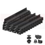 Set 9 rigole cu accesorii ACO Self Hexaline 2.0 din polipropilenă, cu grătar fantă PP negru, lungime 100 cm