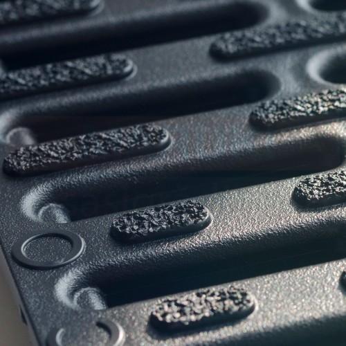 Set 7 rigole cu accesorii ACO Self Hexaline 2.0 din polipropilenă, cu grătar antiderapant din PP negru, lungime 100 cm