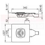 Gură de scurgere ACO MG, cu descărcare orizontală, grătar 95mm x 95mm, cod 2245.25.10