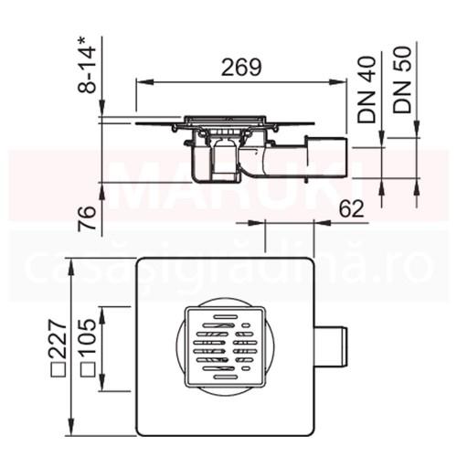 Gură de scurgere ACO MG, cu descărcare orizontală, grătar 95mm x 95mm, cod 2245.30.10