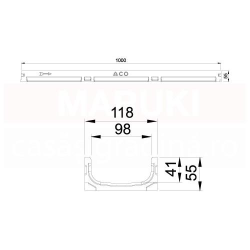 Rigolă cu înălțime redusă ACO Self Euroline, cu grătar tip fantă din oțel zincat și element de revizie, lungime 100 cm, descărcare verticală