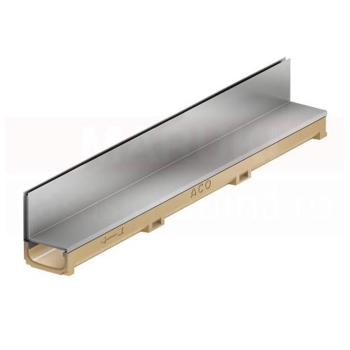 Rigolă cu  înălțime redusă ACO Self Euroline din beton cu polimeri, cu grătar tip fantă din oțel zincat, lungime 100 cm, cod 810000415838