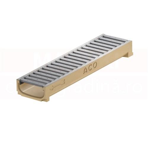 Rigolă ACO Self Euroline 60 cu înălțime redusă, din beton cu polimeri, cu grătar din oțel zincat, lungime 50 cm, cod 320276
