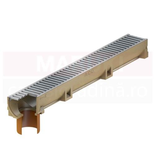 Rigolă ACO Self Euroline din beton cu polimeri, cu grătar din oțel zincat, lungime 100 cm, cod 38700