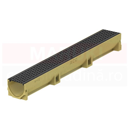 Rigolă ACO Self Euroline din beton cu polimeri, cu grătar din fontă, tip Intercept, lungime 100 cm, cod 38500310321