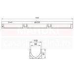 Set 8 rigole cu accesorii ACO Self Euroline din beton cu polimeri, cu grătar din fontă, lungime 100 cm