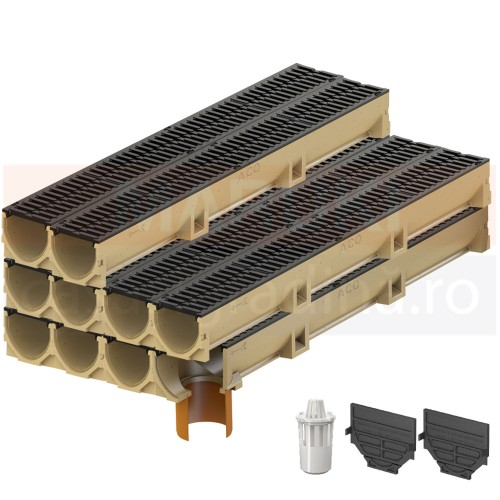 Set 10 rigole cu accesorii ACO Self Euroline din beton cu polimeri, cu grătar din fontă, lungime 100 cm