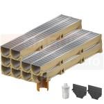 Set 10 rigole cu accesorii ACO Self Euroline din beton cu polimeri, cu grătar din oțel zincat, lungime 100 cm, cod S38700-8