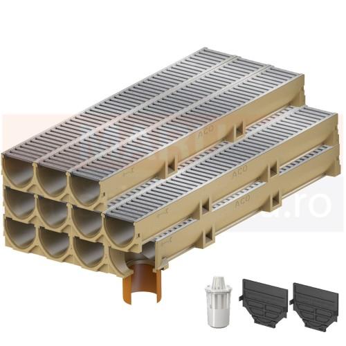 Set 11 rigole cu accesorii ACO Self Euroline din beton cu polimeri, cu grătar din oțel zincat, lungime 100 cm, cod S38700-9