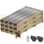 Set 12 rigole cu accesorii ACO Self Euroline din beton cu polimeri, cu grătar din oțel zincat, lungime 100 cm, cod S38700-10