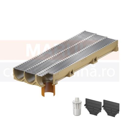 Set 3 rigole cu accesorii ACO Self Euroline din beton cu polimeri, cu grătar din oțel zincat, lungime 100 cm, cod S38700