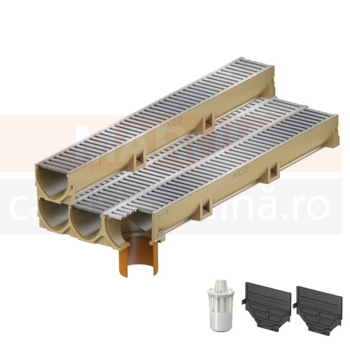 Set 4 rigole cu accesorii ACO Self Euroline din beton cu polimeri, cu grătar din oțel zincat, lungime 100 cm, cod S38700-2