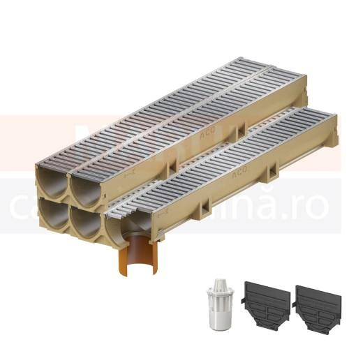 Set 5 rigole cu accesorii ACO Self Euroline din beton cu polimeri, cu grătar din oțel zincat, lungime 100 cm, cod S38700-3