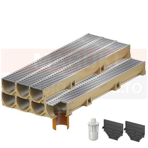 Set 7 rigole cu accesorii ACO Self Euroline din beton cu polimeri, cu grătar din oțel zincat, lungime 100 cm, cod S38700-5