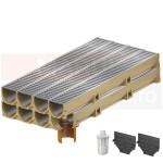 Set 8 rigole cu accesorii ACO Self Euroline din beton cu polimeri, cu grătar din oțel zincat, lungime 100 cm, cod S38700-6