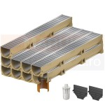 Set 9 rigole cu accesorii ACO Self Euroline din beton cu polimeri, cu grătar din oțel zincat, lungime 100 cm, cod S38700-7