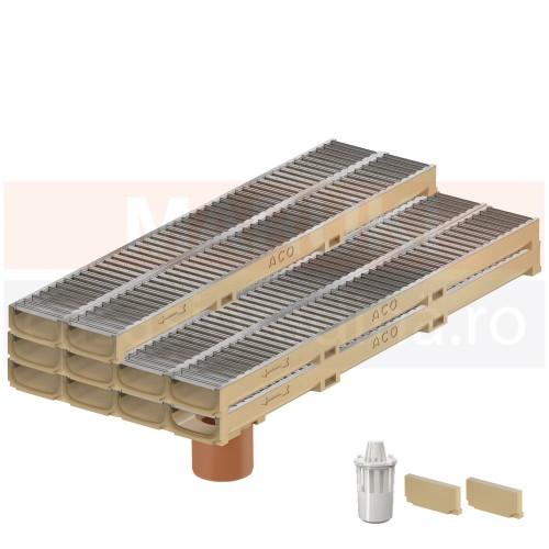 Set 10 rigole cu accesorii ACO Self Euroline 60 cu înălțime redusă, din beton cu polimeri, cu grătar din oțel zincat, lungime 100 cm, cod S810000-10