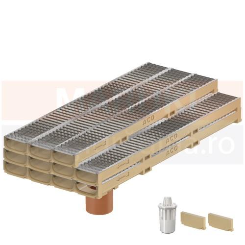 Set 11 rigole cu accesorii ACO Self Euroline 60 cu înălțime redusă, din beton cu polimeri, cu grătar din oțel zincat, lungime 100 cm, cod S810000-11