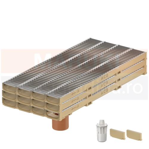Set 12 rigole cu accesorii ACO Self Euroline 60 cu înălțime redusă, din beton cu polimeri, cu grătar din oțel zincat, lungime 100 cm, cod S810000-12