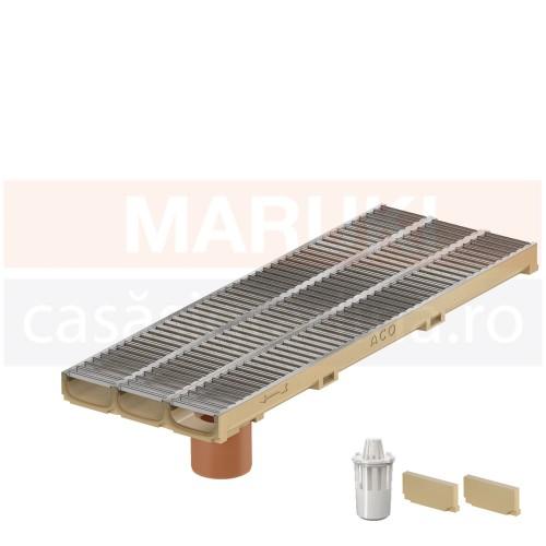 Set 3 rigole cu accesorii ACO Self Euroline 60 cu înălțime redusă, din beton cu polimeri, cu grătar din oțel zincat, lungime 100 cm, cod S810000-3