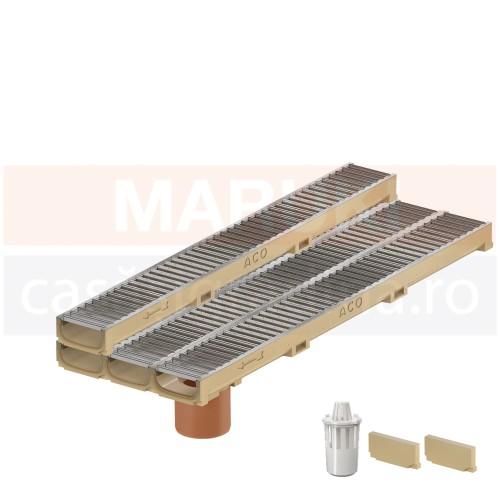 Set 4 rigole cu accesorii ACO Self Euroline 60 cu înălțime redusă, din beton cu polimeri, cu grătar din oțel zincat, lungime 100 cm, cod S810000-4